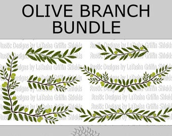 Olive branch Bundle | SVG & DXF Digital Files | Embellishments | Cuttable | Design Elements | Borders | Frames |