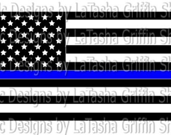 c48544fcaec6 Thin Blue Line American Flag SVG Vector file   DXF
