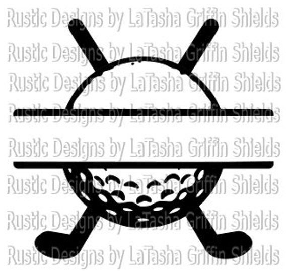 Download Golf Ball & Clubs Split SVG and DXF Monogram Last name   Etsy