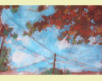 Autumn leaves in the sky - oil pastels - original drawing
