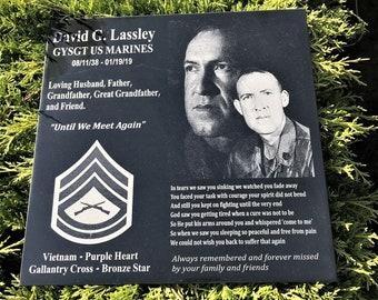 Military Soldier Custom Design Memorial Plaque, Veteran Soldier Memorial, Personalized Garden Memorial, Military Service Veteran