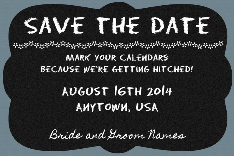 Chalkboard Confessions Shabby Chic Custom Design Save the Date; Rustic Burlap Chalkboard and Wood Wedding; Print at Home; Invite and RSVP