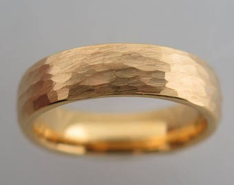 6mm Hammered Brushed Yellow Gold* Tungsten Carbide Unisex Band, Brushed Finish, 6mm, Mens Ring, Wedding, Tungsten Carbide,Womens Ring