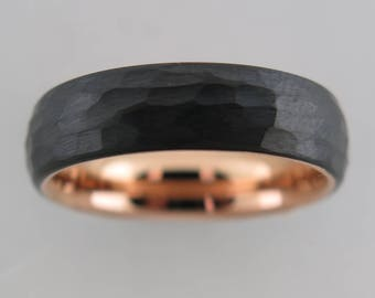 Hammered Brushed Black Tungsten Carbide Unisex Band With Rose Gold* Interior, Brushed Finish, Mens Ring, 6mm Ring, Wedding Band, Womens Ring