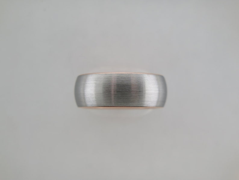 Silver Ring Womens Ring 8mm Tungsten Ring Brushed Tungsten Carbide Unisex Band With Rose Gold* Brushed Finish Mens Ring Wedding Band