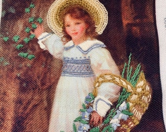 """Vintage Embroidered Painting """"English Girl With Delphinium""""; Children's Room Decor; Free Shipping"""