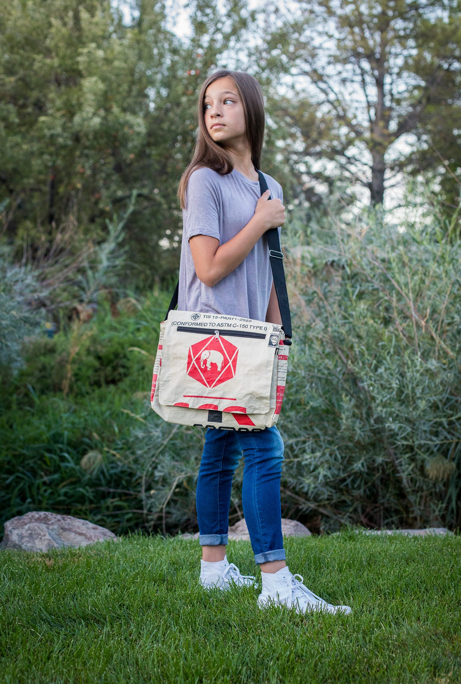 Elephant Brand Recycled Flap Bag 4 zip made from Cement Bags in Cambodia