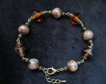 original and retro bracelet with Lampwork beads and agate