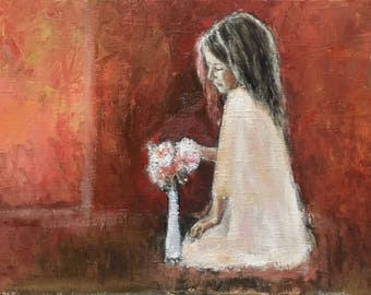 Home Decor Oil Painting On Canvas Little Girl Flowers Birthday Gift Dining Room Wall Art Cosy Interior Decor Gift For Her Origal Artwork