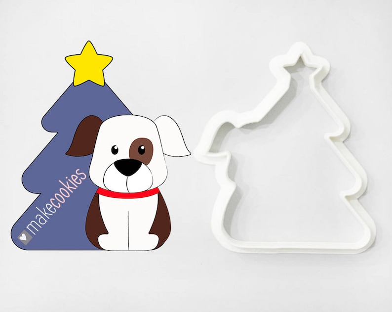 Christmas Dog Cookie Cutter Christmas Cookie Cutters Funny Dog Christmas Tree