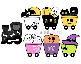 Halloween Train Cookie Cutter Set, Train Cookie Cutter, Halloween Cookie cutters, Fondant cutters