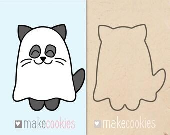 Cat Ghost Cookie Cutter, Halloween cutters, Fondant cutters