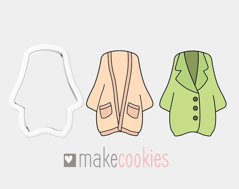 Cardigan Coat Cookie Cutter Fondant Cookie Cutter Sweater Cookie Cutter Apparel Cookie Cutter