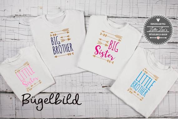 Bügelbild Geschwister Großer Kleiner Bruder Schwester mit Pfeilen Shirt