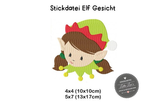 Embroidery file Girl elf winter face 4x4 5x7