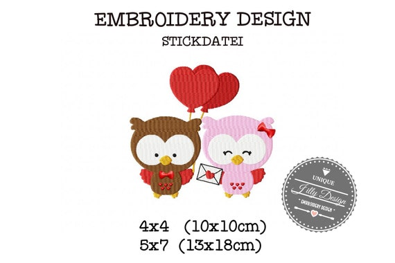 Embroidery file Owl couple balloon Love 4x4 5x7