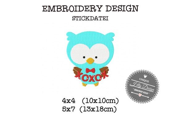 Embroidery file Owl XOXOXO love love 4x4 5x7