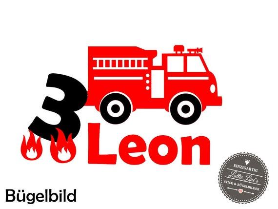 Aufbügler Geburtstag Feuerwehr mit Zahl und Name
