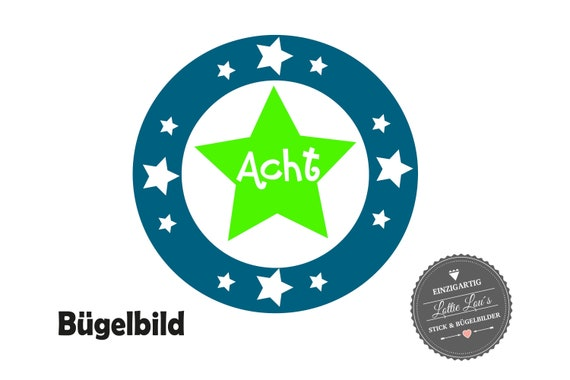 Bügelbild DIY Geburtstag Stern Star mit Wunschzahl Birthday Iron On Aufbügler Glitzer Flock Effekt Flex
