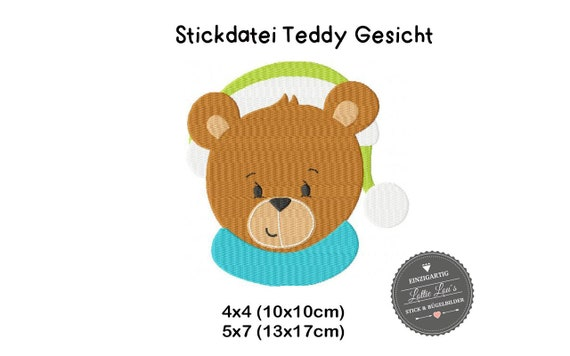 Embroidery file teddy bear Winter face 4x4 5x7
