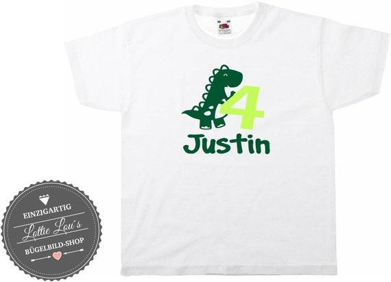Iron On T-Shirt T-Rex  Dino Geburtstag  Name Zahl -Farbe