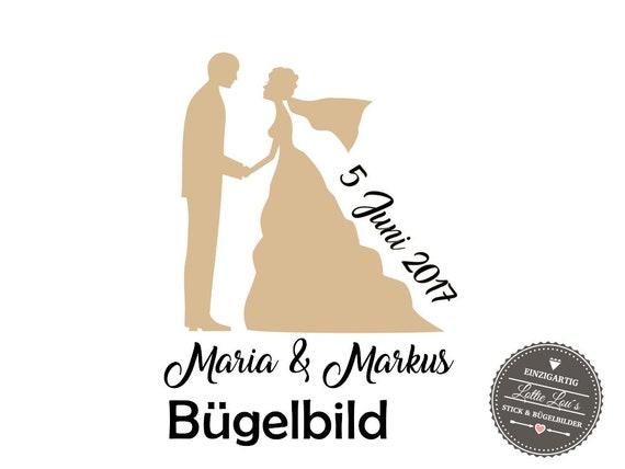 Iron On Bügelbild Braut/Bräutigam Bride Liebe Hochzeit