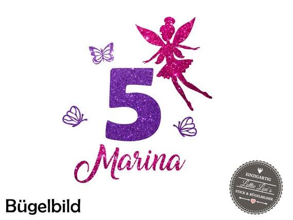 Bügelbild DIY zum Geburtstag Fee Fairy mit Wunschname & Zahl