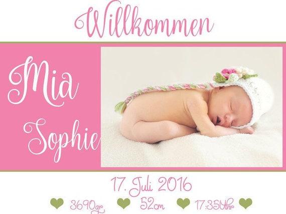 Geburtsanzeige Geburtskarten Danksagung  mit Foto