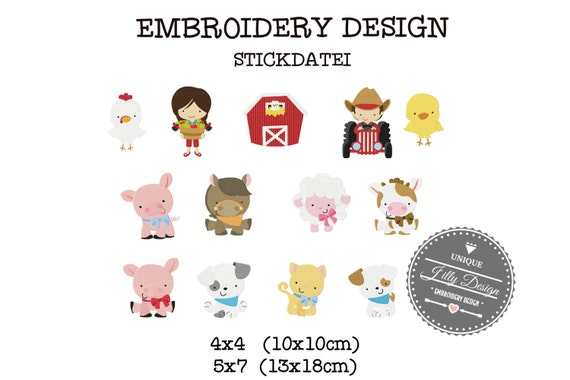 Embroidery Design  File Farm Set XXL Horse Pig Cow Sheep Dog Cat Tractor Chicken Barn Farm Girl Farm Boy  4x4 5x7