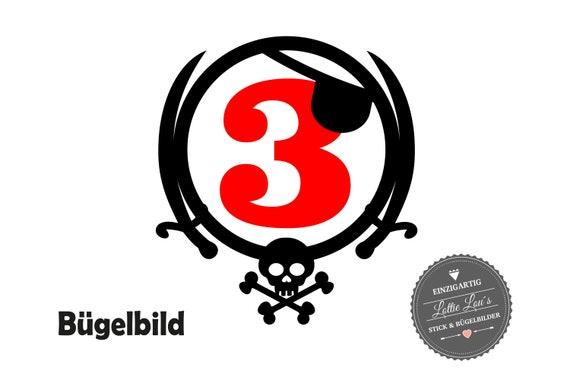 Bügelbild  Pirat  Zahl TotenkopfIron On