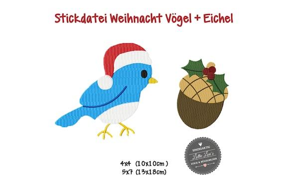 Embroidery file Christmas Bird Acorn Christmas