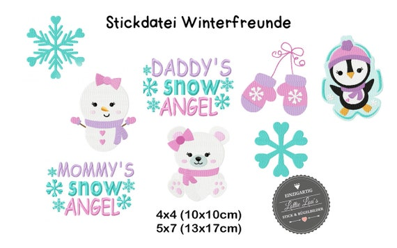 Embroidery file Set winter snow animals 4x4 5x7