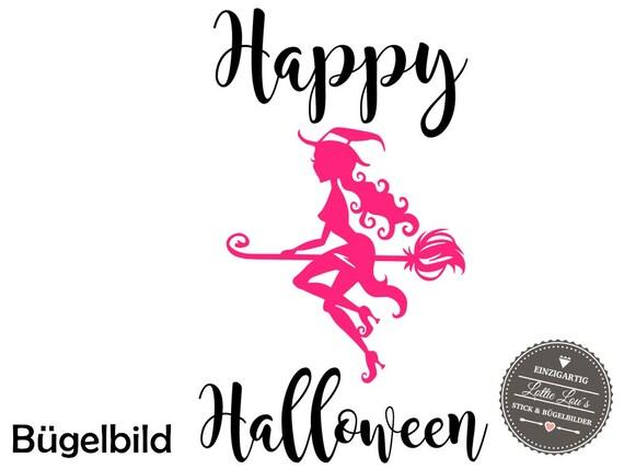DIY Halloween Spooky Witch iron on appliqué glitter flock effect Flex