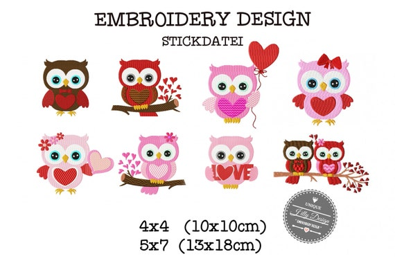 Embroidery Design Stickdatei File Owl  Heart  Valentines Day 4x4 5x7