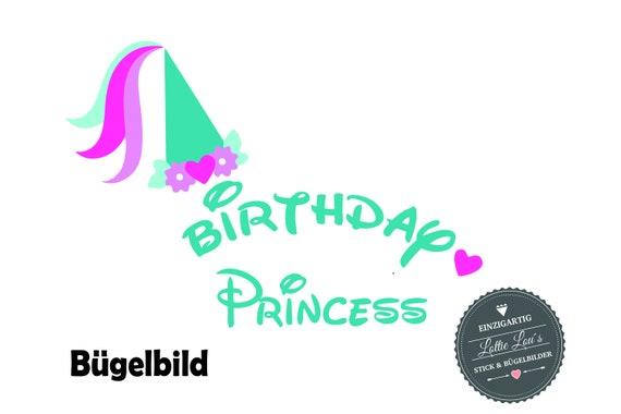 Bügelbild  DIY Geburtstag Birthday Princess  Iron On   Name Aufbügler Glitzer Flock Effekt Flex  Individuell Geburtstags Shirt Birthday