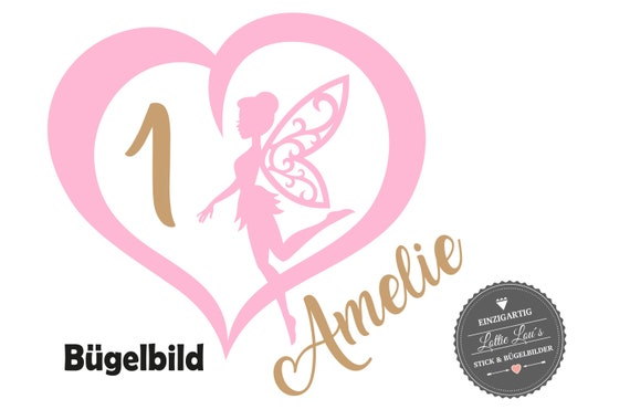 Personalisiertes Bügelbild  Geburtstag Birthday Fee Fairy Herz mit Zahl Name Aufbügler Glitzer Flock Effekt Flex  Geburtstags Shirt