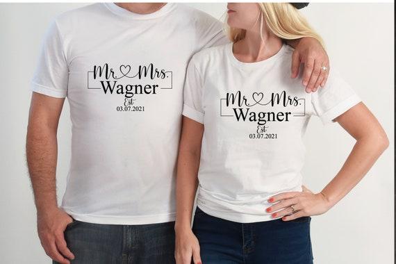 Bügelbild  Mr. & Mrs.   auch  mit Wunschnamen  Datum Statement Shirt