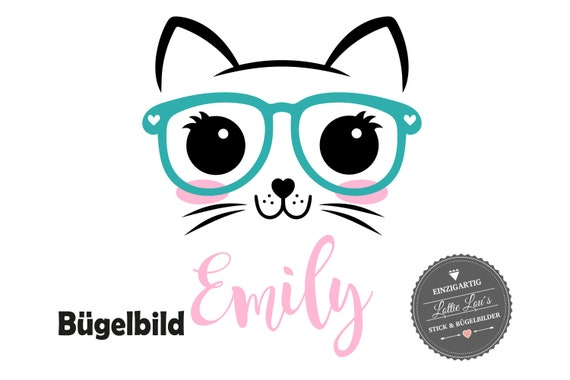 Personalized ironing image cat cat kitten kitten with glasses and wishful in glitter Flock effect flex insurgent DIY
