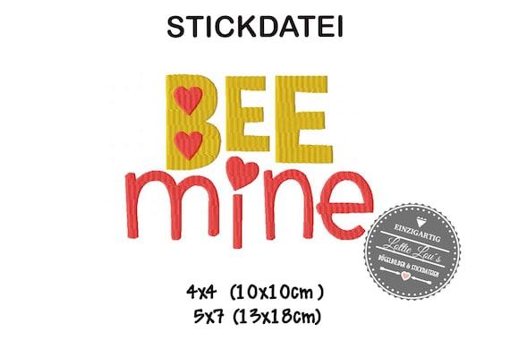 Embroidery Design Wordart Bee Mine 4x4 5x7