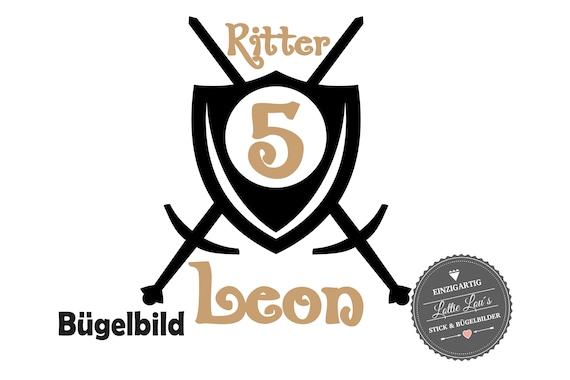 Bügelbild Geburtstag Ritter Schild mit Zahl und Name