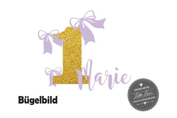 Bügelbild Geburtstag Schleife mit Wunsch Name und Zahl zum Geburtstag