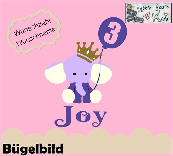 Bügelbild Elefant Geburtstag Ballon KroneIron On