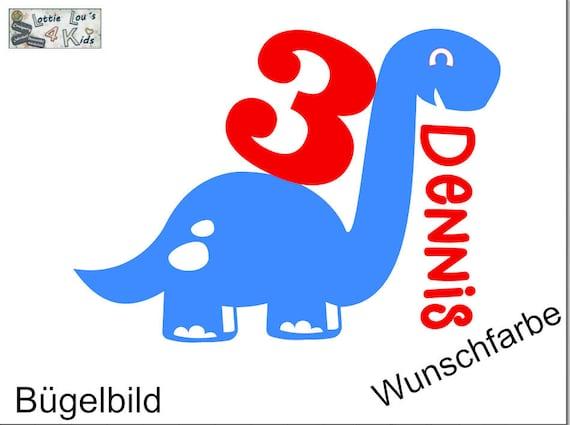 Aufbügler Dinosaurier zum Geburtstag mit Wunschname und Zahl