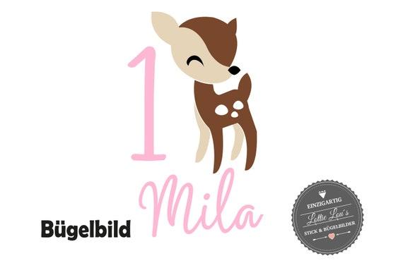 Personalisiertes Bügelbild Reh Bambi zum Geburtstag Wunschname  Zahl in Glitzer, Flock, Effekt, Flex Iron On Aufbügler Birthday