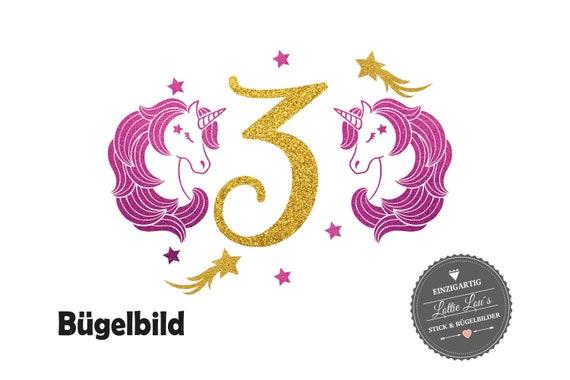 Bügelbild Geburtstag  Einhorn Unicorn mit  Wunschname Zahl