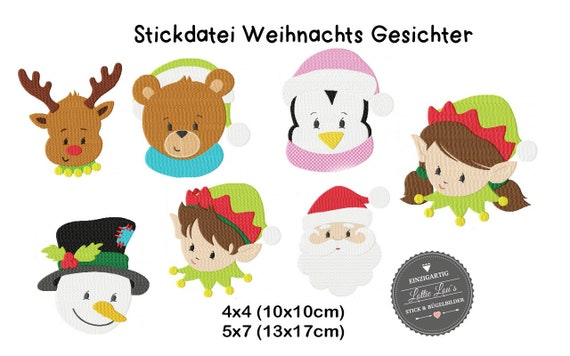 Embroidery file set Christmas winter faces 4x4 5x7