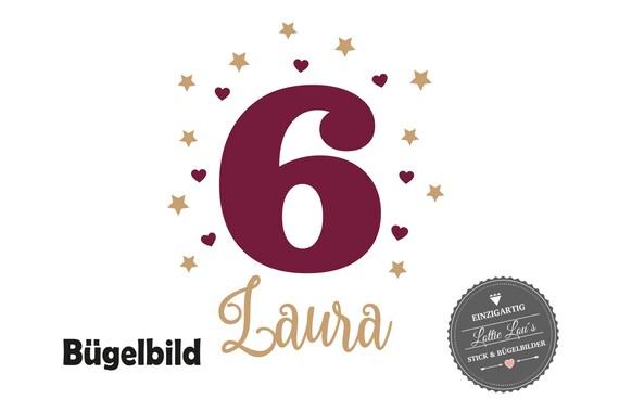 Personalisiertes Bügelbild Geburtstag mit Wunschname Zahl mit Herzen Sterne in Glitzer, Flock, Effekt, Flex Iron On Aufbügler Birthday