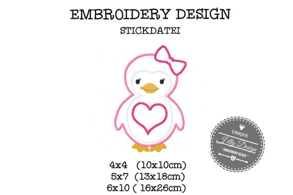 Embroidery File Application Penguin Heart