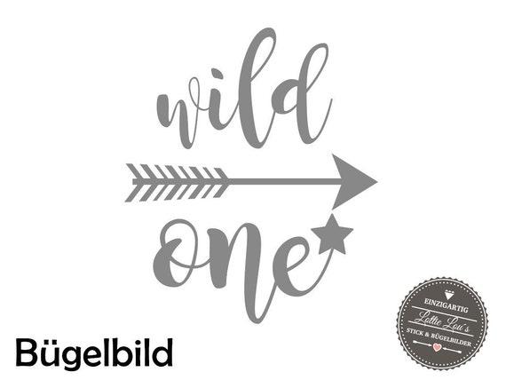 Bügelbild DIY Geburtstag Wild One  Iron On mit Zahl Name Aufbügler Glitzer Flock Effekt Flex Individuell Geburtstags Shirt