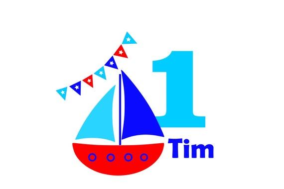 Bügelbild DIY Geburtstag Birthday MaritimSchiff Boot mit Zahl Name Aufbügler Glitzer Flock Effekt Flex Individuell Geburtstags Shirt